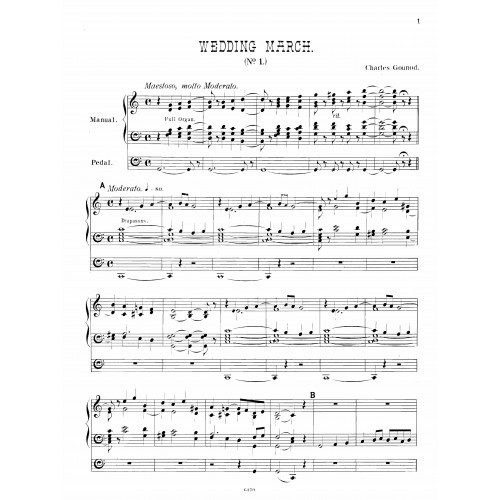 Gounod Wedding March Organ Trombones Sheet Music Eastman